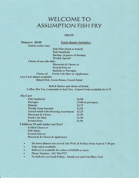 assumption fish fry menu 2009